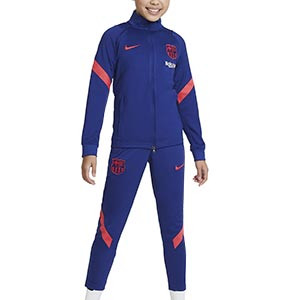 Chándal niño Nike Barcelona Strike 2021 - Chándal infantil Nike del FC Barcelona 2020 2021 - azul marino - frontal