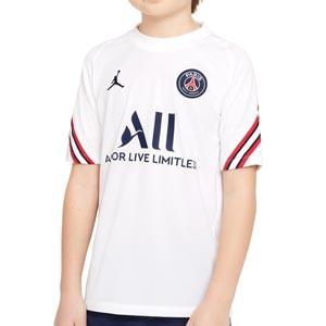 Camiseta Nike PSG x Jordan entrenamiento niño Strike - Camiseta entrenamiento infantil Nike x Jordan París Saint-Germain - blanca - frontal