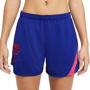 Short Nike mujer Barcelona entreno 2021 Academy Pro - Pantalón corto de mujer de entrenamiento del FC Barcelona 2020 2021 - azul - frontal