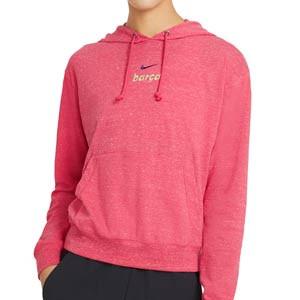Sudadera Nike mujer Vintage Hoodie - Sudadera con capucha de algodón para mujer Nike del FC Barcelona - rosa - frontal