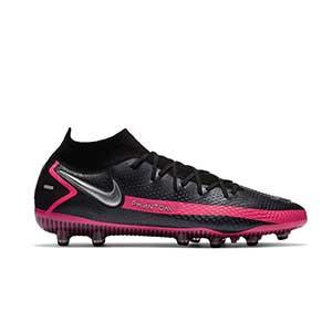 Nike Phantom GT Elite DF AG-PRO - Botas de fútbol con tobillera Nike AG-PRO para césped artificial - negras y rosas - pie derecho
