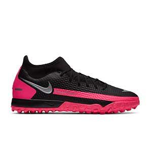 Nike Phantom GT Academy DF TF - Zapatillas de fútbol multitaco con tobillera Nike suela turf - negras y rosas - pie derecho