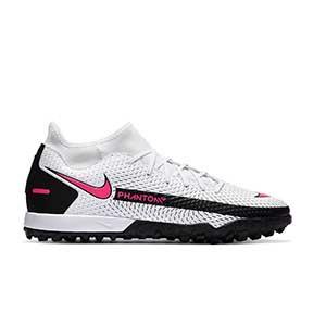 Nike Phantom GT Academy DF TF - Zapatillas de fútbol multitaco con tobillera Nike suela turf - blancas y rosas - pie derecho