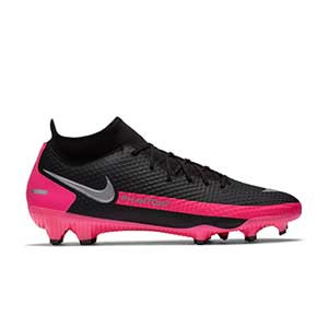 Nike Phantom GT Academy DF FG/MG - Botas de fútbol con tobillera Nike FG/MG para césped artificial - negras y rosas - pie derecho