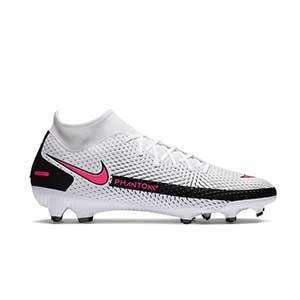Nike Phantom GT Academy DF FG/MG - Botas de fútbol con tobillera Nike FG/MG para césped artificial - blancas y rosas - pie derecho