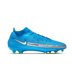 Nike Phantom GT Academy DF FG/MG - Botas de fútbol con tobillera Nike FG/MG para césped artificial - azules, plateadas, verdes, negras - pie derecho