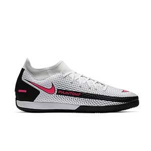 Nike Phantom GT Academy IC - Zapatillas fútbol sala con tobillera Nike suela lisa IC - blancas y rosas - pie derecho