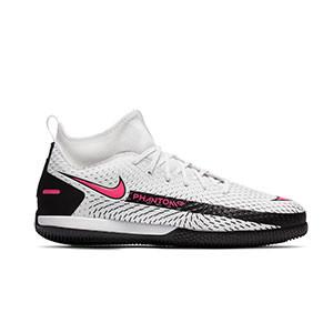 Nike Phantom GT Academy IC Jr - Zapatillas fútbol sala con tobillera infantiles Nike suela lisa IC - blancas y rosas - pie derecho