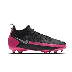 Nike Phantom GT Academy DF FG/MG Jr - Botas de fútbol con tobillera infantiles Nike FG/MG para césped artificial - negras y rosas - pie derecho