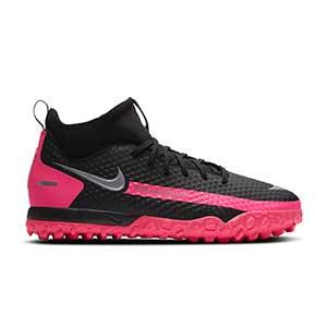 Nike Phantom GT Academy DF TF Jr - Zapatillas de fútbol multitaco con tobillera infantiles Nike suela turf - negra y rosas - pie derecho