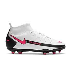 Nike Phantom GT Club DF FG/MG Jr - Botas de fútbol con tobillera infantiles Nike FG/MG para césped artificial - blancas y rosas - pie derecho