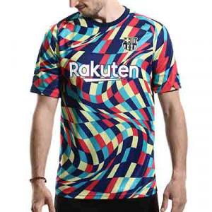 Camiseta Nike Barcelona pre-match 2020 2021 - Camiseta pre partido del FC Barcelona 2020 2021 - azul y amarilla - miniatura frontal