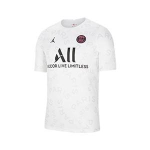 Camiseta Nike PSG pre-match 2021 - Camiseta de calentamiento pre partido del Paris Saint-Germain 2021 - blanca - frontal