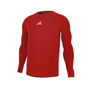Camiseta compresiva M/L adidas Alphaskin - Camiseta entrenamiento compresiva manga larga adidas Alphaskin - Rojo - frontal