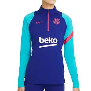 Sudadera Nike entreno mujer Barcelona 2021 Academy Pro - Sudadera de mujer de entrenamiento del FC Barcelona 2020 2021 - azul - frontal