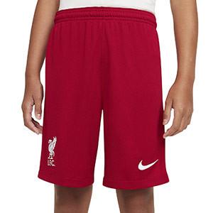 Short Nike Liverpool niño Stadium 2020 2021 - Pantalón corto infantil primera equipación Nike Liverpool FC 2020 2021 - rojo - frontal