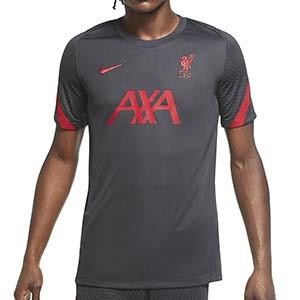 Camiseta Nike Liverpool entreno 2020 2021 Strike - Camiseta de entrenamiento del Liverpool 2020 2021 - gris oscuro - frontal