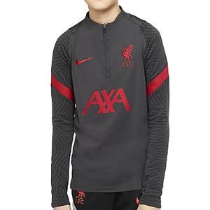Sudadera Nike Liverpool niño entreno 2020 2021 Strike - Sudadera de entrenamiento infantil del Liverpool FC 2020 2021 - gris oscuro - frontal