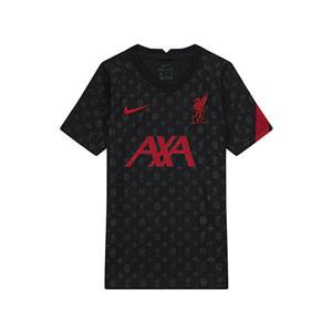Camiseta Nike Liverpool niño pre-match 2020 2021 - Camiseta infantil calentamiento pre partido del Liverpool FC 2020 2021 - negra - frontal