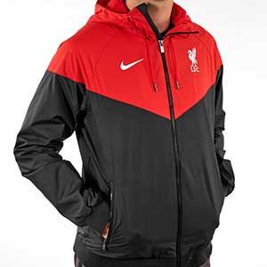 Cortavientos Nike Liverpool Authentic - Cortavientos Nike del Liverpool FC 2020 2021 - negro y rojo - frontal