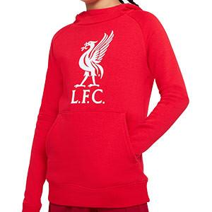 Sudadera Nike Liverpool niño Fleece Hoodie - Sudadera con capucha infantil de algodón del Liverpool FC - roja - frontal