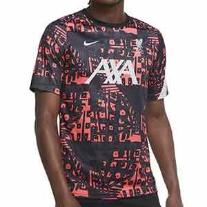 Camiseta Nike Liverpool pre-match UCL 2020 2021 - Camiseta calentamiento pre partido de Champions League del Liverpool FC 2020 2021 - negra y rosa - frontal