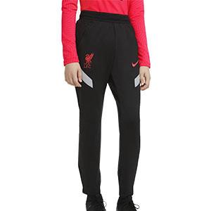 Pantalón Nike Liverpool niño entreno UCL 2020 2021 Strike - Pantalón largo infantil de entrenamiento Nike del Liverpool FC de la Champions League 2020 2021 - negro - frontal
