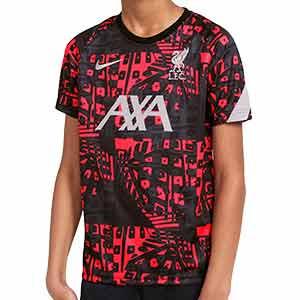 Camiseta Nike Liverpool niño pre-match UCL 2020 2021 - Camiseta calentamiento pre partido de Champions League del Liverpool FC 2020 2021 - negra y rosa - frontal