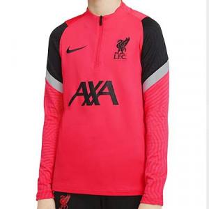 Sudadera Nike Liverpool niño entreno UCL 2020 2021 Strike - Sudadera de entrenamiento infantil del Liverpool FC para la Champions League 2020 2021 - rosa rojizo - frontal