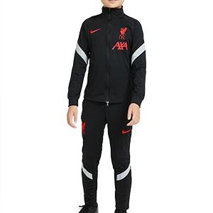 Chándal Nike Liverpool niño UCL 2020 2021 Strike - Chándal infantil Nike del Liverpool FC de la Champions League 2020 2021 - negro - frontal