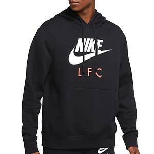 Sudadera Nike Liverpool Club Hoodie - Sudadera con capucha de algodón Nike del Liverpool FC - negra - frontal