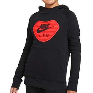 Sudadera Nike Liverpool niño Fleece Hoodie UCL - Sudadera con capucha infantil de algodón Nike del Liverpool FC - negra - frontal