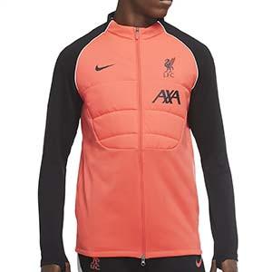 Chaqueta Nike Liverpool entreno UCL 2020 2021 Therma Padded - Chaqueta de entrenamiento Nike Liverpool FC Champions League 2020 2021 - roja y negra - frontal