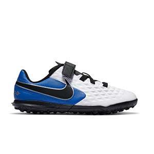 Nike Tiempo Legend 8 Club TF PS velcro Jr - Botas de fútbol multitaco Nike infantiles con velcro suela turf - blancas y azules - pie derecho