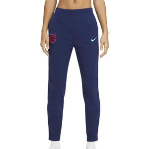 Pantalón Nike FC Barcelona mujer calle - Pantalón largo de paseo de mujer Nike del FC Barcelona - azul marino - frontal