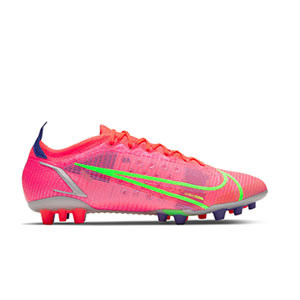 Nike Mercurial Vapor 14 Elite AG - Botas de fútbol Nike AG para césped artificial - rosa rojizas, plateadas, azul moradas - pie izquierdo