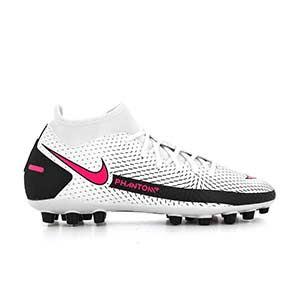 Nike Phantom GT Academy DF AG - Botas de fútbol con tobillera Nike AG para césped artificial - blancas y rosas - pie derecho