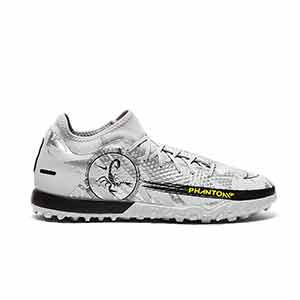 Nike Phantom GT Academy DF SE TF - Zapatillas de fútbol multitaco con tobillera Nike suela turf - plateadas - pie derecho