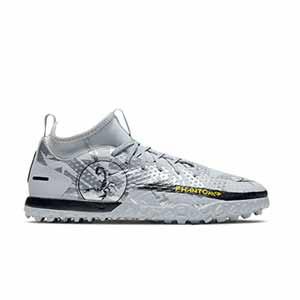 Nike Jr Phantom GT Academy DF SE TF - Zapatillas de fútbol multitaco con tobillera infantiles Nike suela turf - plateadas - pie derecho