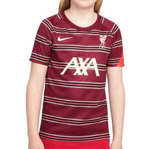 Camiseta Nike Liverpool niño pre-match - Camiseta calentamiento pre-partido infantil Nike del Liverpool FC - granate - frontal