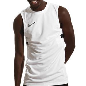Camiseta tirantes Nike Dri-Fit Academy 21 - Camiseta sin mangas de entrenamiento de fútbol Nike - blanca - frontal