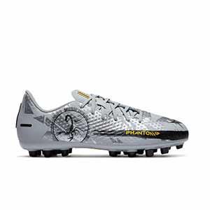Nike Jr Phantom GT Academy SE AG - Botas de fútbol infantiles Nike AG para césped artificial - plateadas - pie derecho