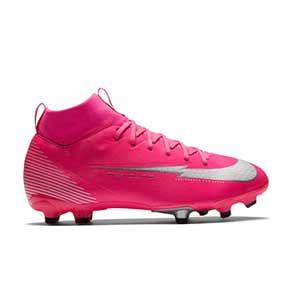 Nike Mercurial Superfly 7 Academy KM FG/MG Jr - Botas de fútbol infantiles con tobillera de Kylian Mbbapé Nike FG/MG para césped artificial - rosas - pie derecho