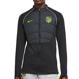 Chaqueta Nike Atlético entreno UCL 2020 2021 Therma Padded - Chaqueta de entrenamiento Nike Atlético de Madrid Champions League 2020 2021 - negra - frontal