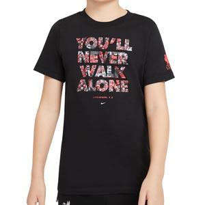 Camiseta Nike Liverpool niño Voice - Camiseta algodón infantil Nike Liverpool FC - negra - frontal