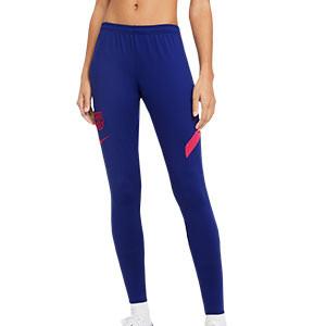 Pantalón Nike Barcelona entreno mujer Academy Pro 2020 2021 - Pantalón largo de mujer oficial de entrenamiento FC Barcelona 2020 2021 - azul marino - frontañ