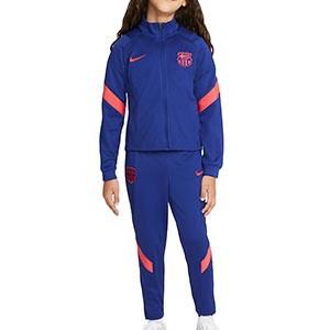 Chándal Nike Barcelona niño Strike 2021 - Chándal infantil Nike del FC Barcelona 2021 - azul marino - frontal