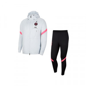 Chándal Nike x Jordan PSG Strike Hoodie - Chándal de paseo Nike x Jordan del París Saint-Germain - blanco y negro - frontal