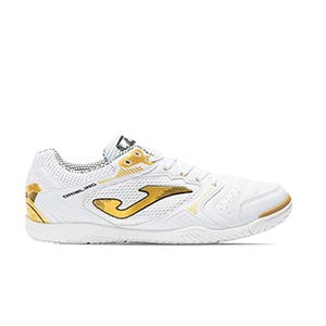 Joma Dribling IN - Zapatillas de fútbol sala Joma suela lisa IN - blancas y doradas - pie derecho
