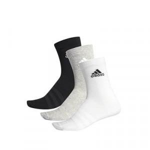 Calcetines adidas 3 pares finos - Pack 3 calcetines de media caña adidas - negro, gris y blanco - frontal